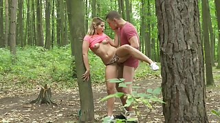 Perfect ten tosses jean shorts deserted to fuck close to the woods