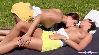 Outdoor homoerotic dalliance for teen dolls Christy Charming and Kari K.