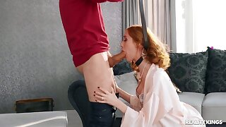 Redhead gets unchanging fucked after being choked and spanked