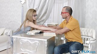 Goody-goody coed Sonya Adorable is fucked together with jizzed by elder school