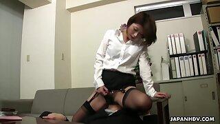 Japanese femdom fun with horny nympho whose hairy pussy needs polishing