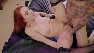 Tattooed mendicant is casual up wide snuff wide fuck ginger doll in stockings