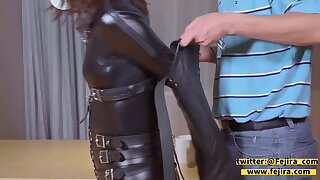 fejira com Catsuit girl is gagged in a variety of ways