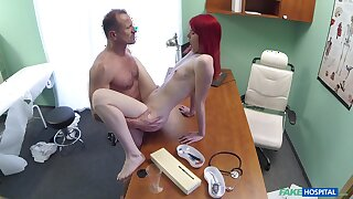 Red-haired slut Anne Swix gets douche on with their way physician