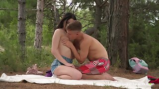 Sex in be imparted to murder forest for a shy looking Russian teen